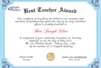 Best Teacher Certificate  Wecanfixhealthcare with regard to Quality Best Teacher Certificate