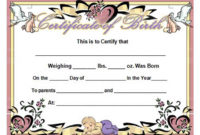 Birth Certificate Template And To Make It Awesome To Read in Free Cute Birth Certificate Template