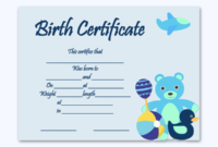 Birth Certificate Template Bear Toys  Word Layouts within Award Certificate Templates Word 2007
