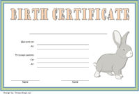 Birth Certificate Template For Rabbit Free 2 In 2020 for Kitten Birth Certificate Template