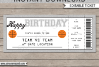 Birthday Basketball Gift Tickets  Happy Birthday Text in Awesome Basketball Gift Certificate Template