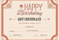 Birthday Gift Certificates  Gift Certificate Template with regard to Awesome Free Printable Certificate Of Promotion 12 Designs