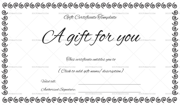Black Bale Gift Certificate Template  Gift Certificates for Black And White Gift Certificate Template Free