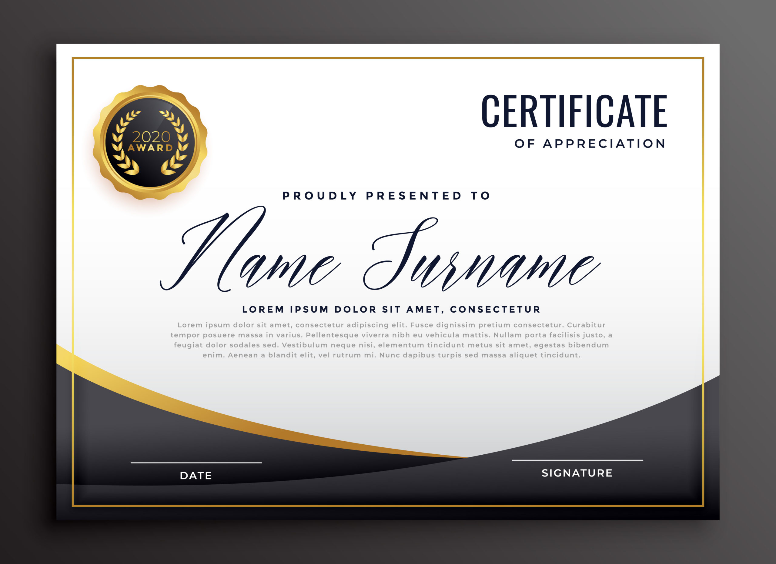 Black Certificate Of Appreciation Template  Download Free for Gratitude Certificate Template