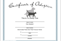 Blank Adoption Certificate For A Adopt A Puppy Birthday with regard to Stuffed Animal Adoption Certificate Template Free