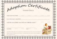 Blank Adoption Certificate Template  Calepmidnightpigco pertaining to Best Adoption Certificate Template
