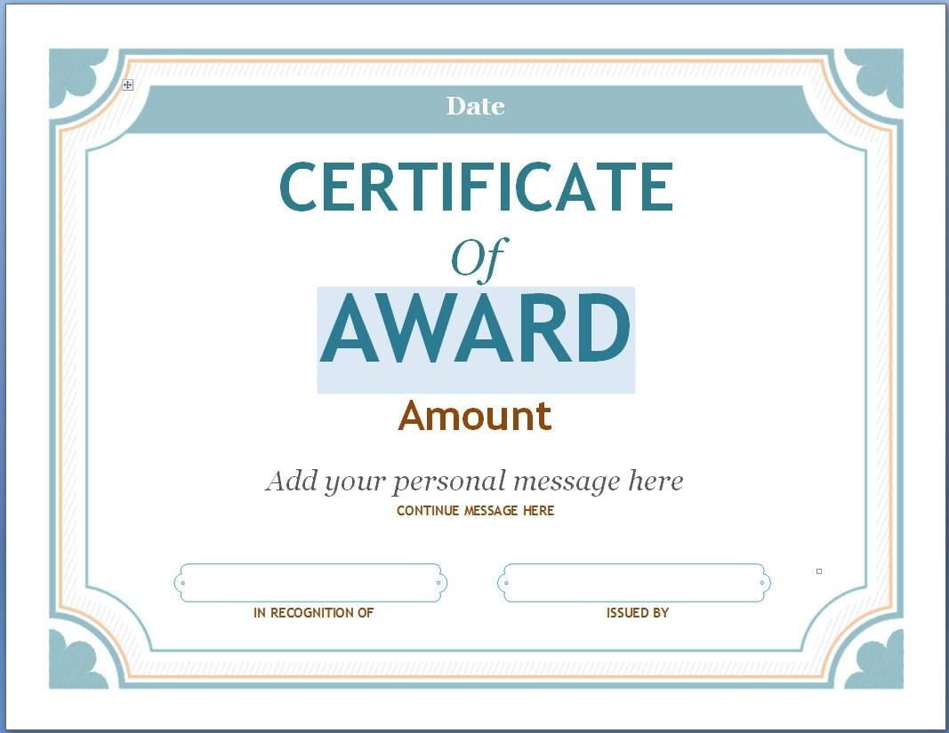 Blank Award Certificate Templates Word  Best Business regarding Blank Award Certificate Templates Word