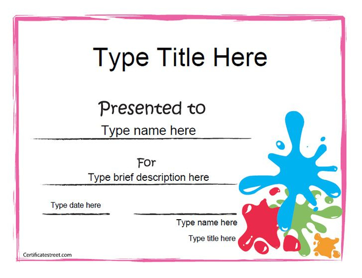 Blank Certificate  Art Award Certificate with Best Free Printable Blank Award Certificate Templates