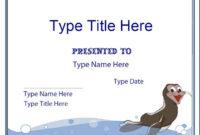 Blank Certificate  Swimming Certificate Template inside Printable Swimming Certificate Template