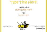 Blank Certificates  Bee Award Certificate intended for Spelling Bee Award Certificate Template