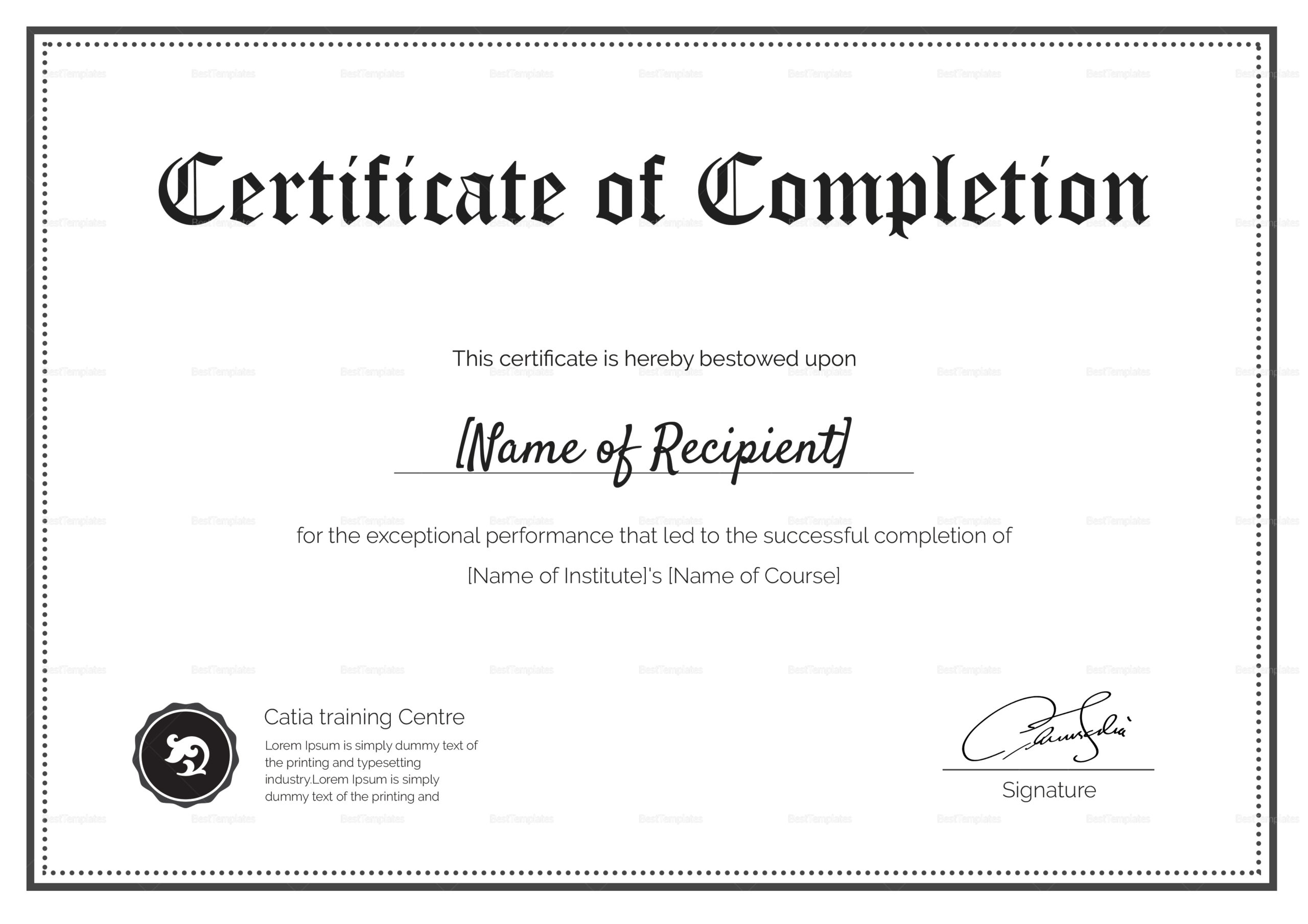 Blank Completion Certificate Design Template In Psd Word within Best Certificate Template For Project Completion