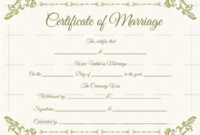 Blank Fillable Marriage Certificate Format  Doc Formats regarding Awesome Blank Marriage Certificate Template