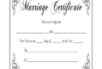 Blank Marriage Certificate Template  Best Professional with regard to Free Certificate Of Marriage Template