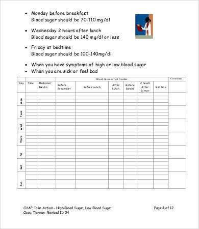Blood Glucose Level Chart  9 Free Word Pdf Documents regarding Blood Glucose Log Template