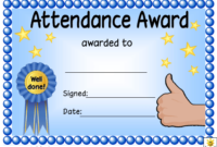 Blue Attendance Certificate Template Download Printable with Best Vbs Attendance Certificate Template