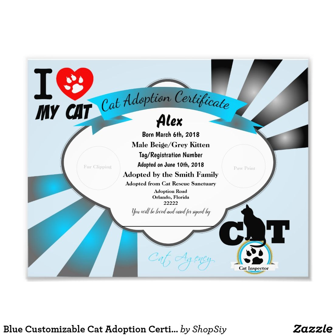 Blue Customizable Cat Adoption Certificate Photo Print in Amazing Cat Birth Certificate Free Printable
