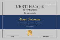 Blue  Grey Microsoft Word Certificate Of Participation for Quality Certificate Of Participation Template Ppt