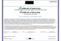 Browse Our Sample Of Hard Drive Destruction Certificate within Quality Certificate Of Destruction Template
