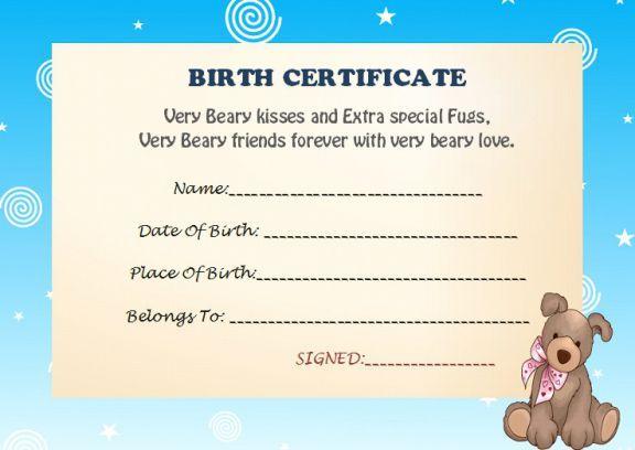 Build A Bear Birth Certificate  Birth Certificate inside Printable Stuffed Animal Birth Certificate Templates