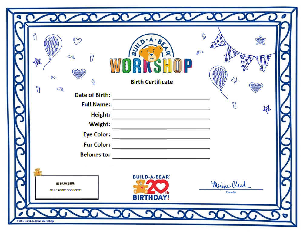 Build A Bear Birth Certificate Template 1 Templates Example intended for Best Stuffed Animal Birth Certificate
