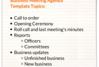 Business Meeting Agenda Templates throughout Printable Board Of Directors Agenda Template