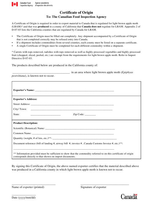 Canada Certificate Of Origin Form Download Printable Pdf regarding Certificate Of Origin For A Vehicle Template