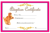 Cat Adoption Certificate Template 9 Lovable Designs Free with Best Pet Adoption Certificate Template Free 23 Designs