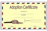 Cat Adoption Certificate Template Free 2Nd Idea In 2020 with Free Dog Adoption Certificate Template