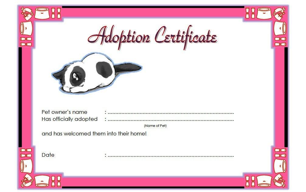 Cat Adoption Certificate Templates Free 9 Update Designs regarding Unicorn Adoption Certificate Free Printable 7 Ideas