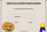 Celebrate The Best Halloween Decorator Home Or Business in Amazing Halloween Costume Certificates 7 Ideas Free