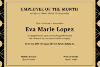 Certificate Employee Of The Month  Certificates Templates throughout Employee Of The Month Certificate Template Word