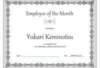 Certificate Employee Of The Month Gray Chain Design with Certificate Of Employment Templates Free 9 Designs
