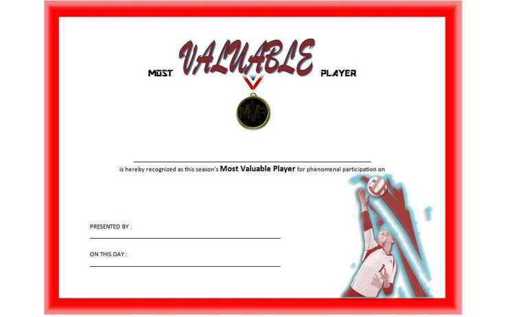 Certificate For Mvp Volleyball Free Printable 1 In 2020 in Mvp Certificate Template