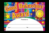 Certificate Good Behaviour Award  Superstickers intended for Free Good Behaviour Certificate Editable Templates