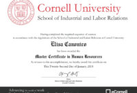 Certificate In Human Resources  Certificates Templates Free regarding Masters Degree Certificate Template
