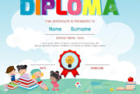 Certificate Kids Diploma Kindergarten Template Layout inside Amazing Netball Certificate Templates Free 17 Concepts