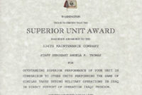 Certificate Of Achievement Army Form Lovely Army Superior pertaining to Free Army Certificate Of Achievement Template