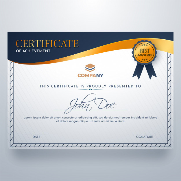 Certificate Of Achievement Award Template  Premium Vector within Printable Certificate Of Attainment Template