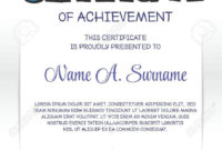 Certificate Of Achievement For Children  Zohre For pertaining to Certificate Of Achievement Template For Kids