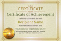 Certificate Of Achievement  Free Templates Easy To Use within Free Printable Certificate Of Achievement Template