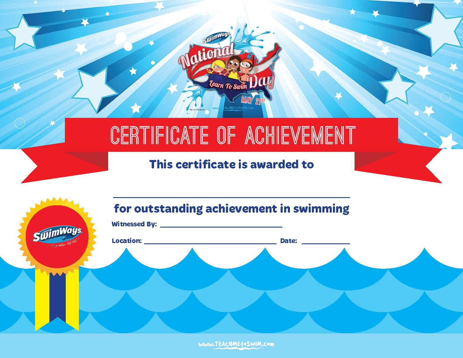 Certificate Of Achievement In Swimming  Pdf Format  E with Free Swimming Certificate Templates