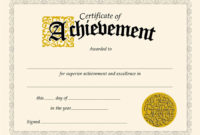 Certificate Of Achievement Template Free  Shatterlion with regard to Quality Sample Award Certificates Templates