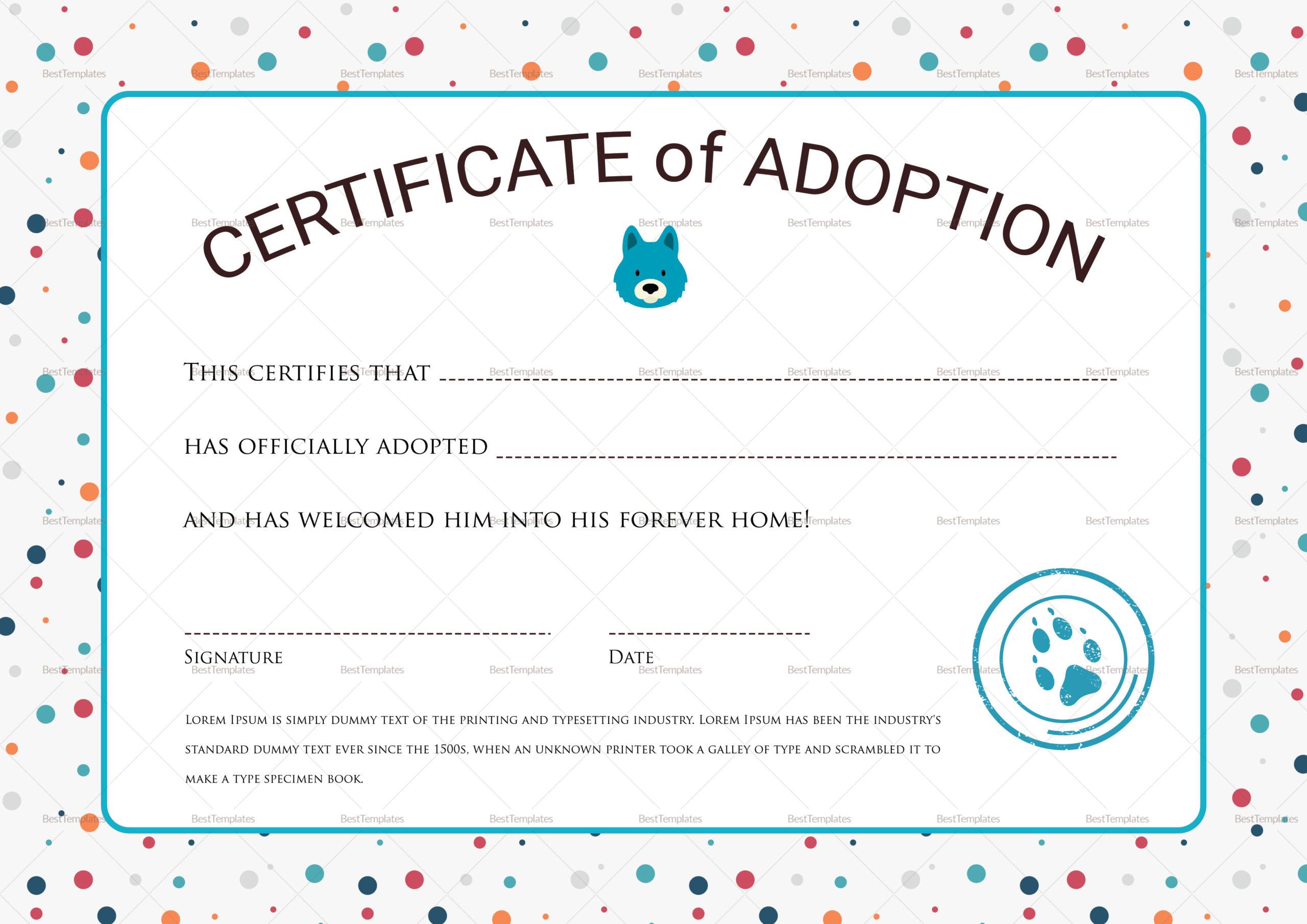 Certificate Of Adoption Design Template In Psd Word regarding Dog Adoption Certificate Editable Templates