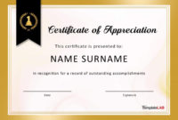 Certificate Of Appreciation Template  Addictionary with regard to Certificate Of Recognition Template Word