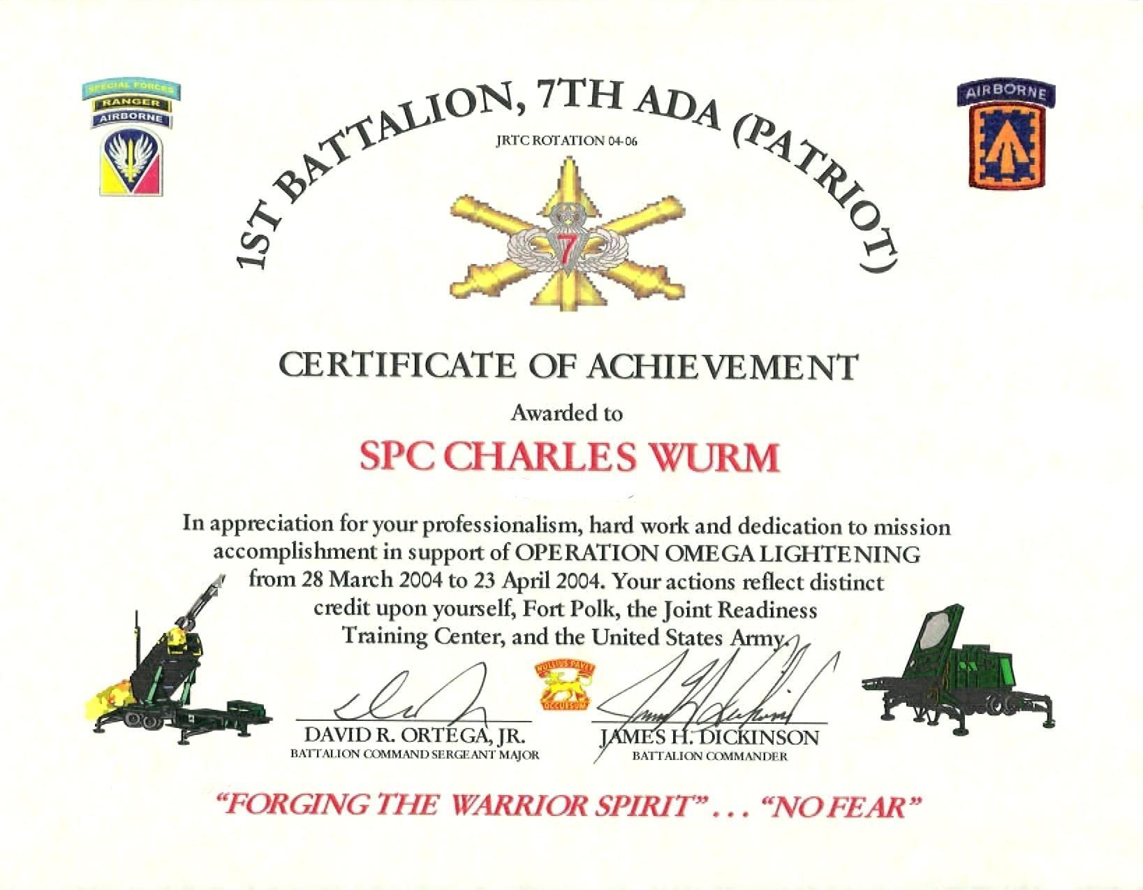 Certificate Of Appreciation Template Us Army Intended For intended for Free Army Certificate Of Achievement Template