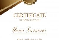 Certificate Of Appreciation Template Vector  Premium Download for Amazing In Appreciation Certificate Templates