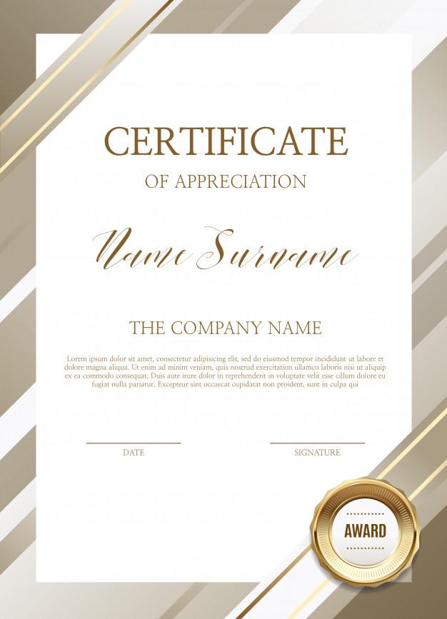 Certificate Of Appreciation Template Vector  Premium Download in Anniversary Certificate Template Free