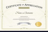 Certificate Of Appreciation Template With Silver Vector Image for Awesome Certificate Of Appreciation Template Doc