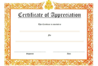 Certificate Of Appreciation Template Word 10 Best Ideas inside Awesome Thanks Certificate Template