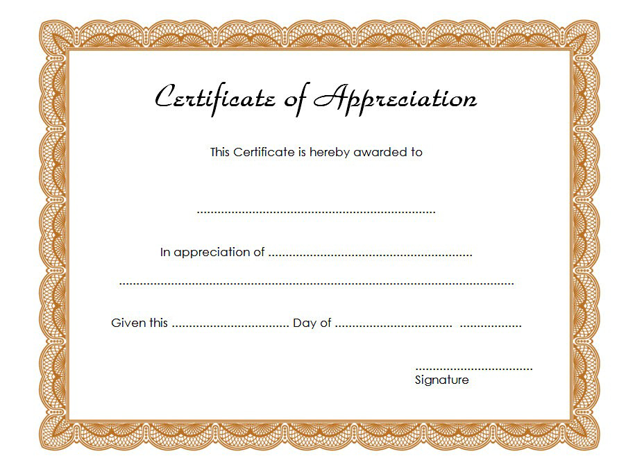 Certificate Of Appreciation Template Word 10 Best Ideas intended for Quality Printable Certificate Of Recognition Templates Free